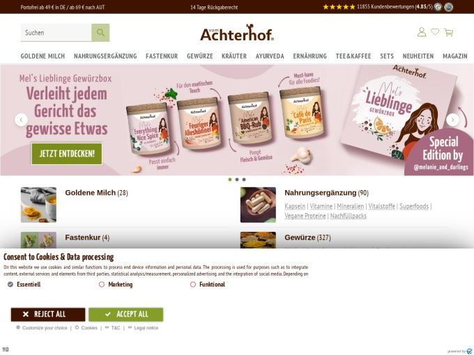 Screenshot des Onlineshops von Vom Achterhof