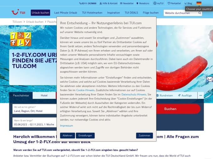 Screenshot des Onlineshops von 1-2 Fly