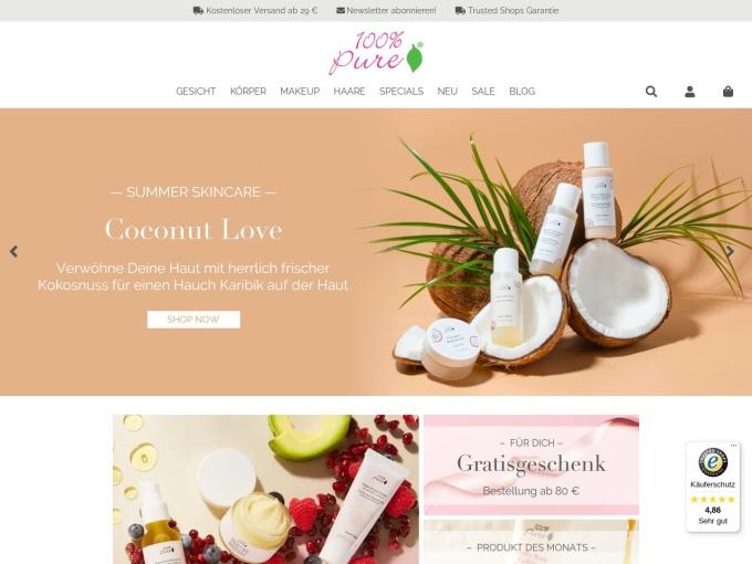 Screenshot des Onlineshops von 100% Pure