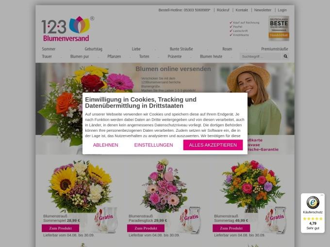 Screenshot des Onlineshops von 123Blumenversand