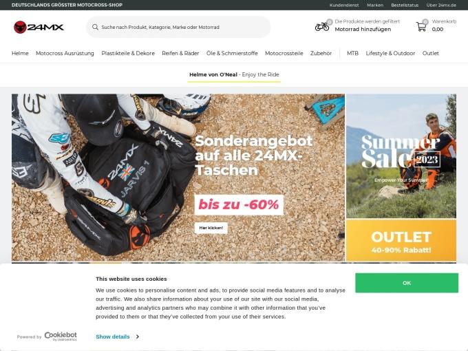 Screenshot des Onlineshops von 24MX