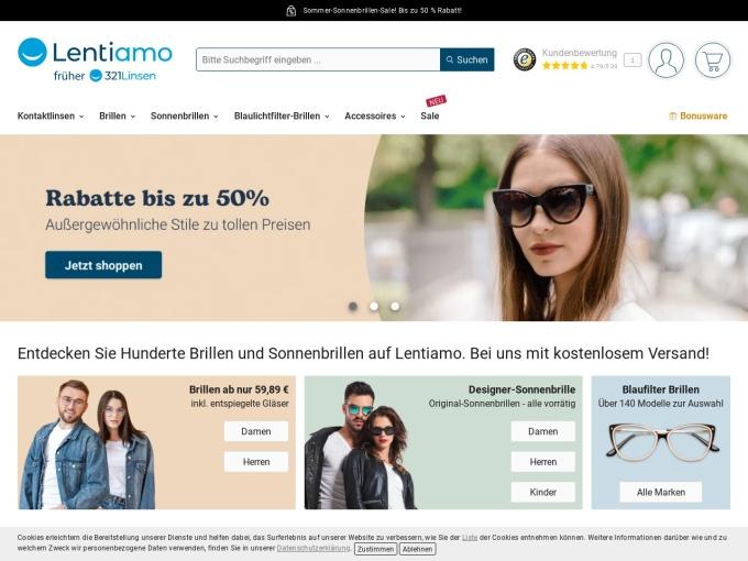 Screenshot des Onlineshops von 321Linsen