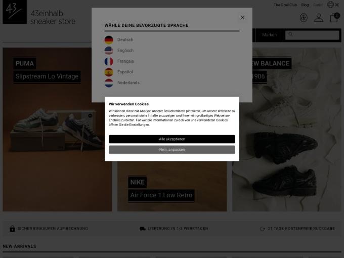 Screenshot des Onlineshops von 43einhalb