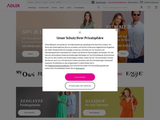 Screenshot des Onlineshops von ADLER