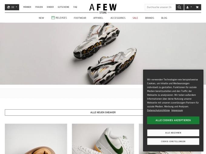 Screenshot des Onlineshops von Afew