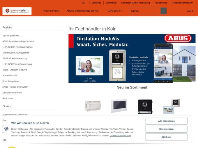 Screenshot des Onlineshops von alarm-laden