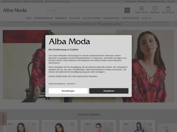 Screenshot des Onlineshops von Alba Moda