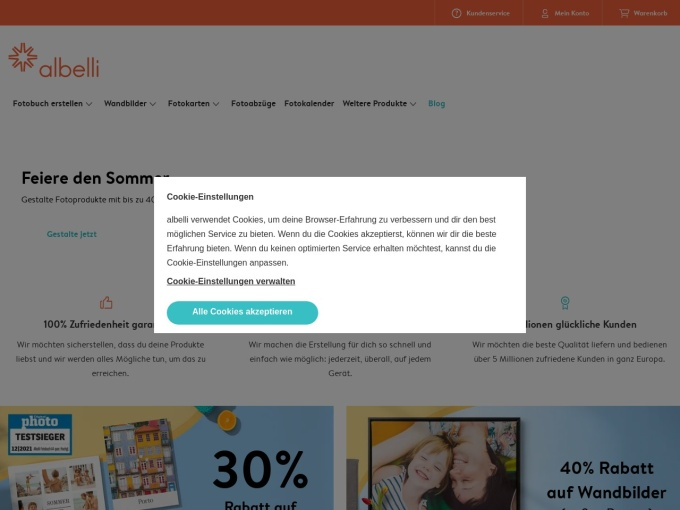 Screenshot des Onlineshops von albelli