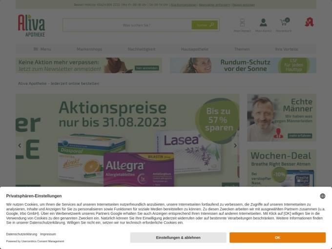 Screenshot des Onlineshops von Aliva