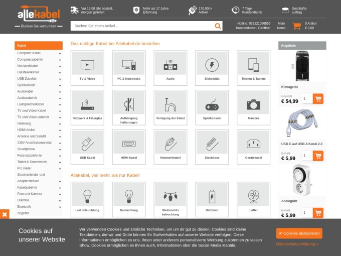 Screenshot des Onlineshops von allekabel