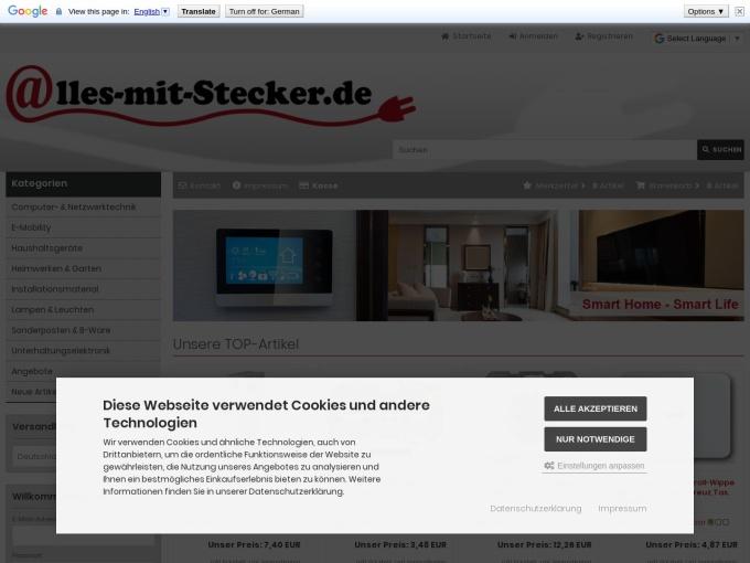 Screenshot des Onlineshops von Alles mit Stecker