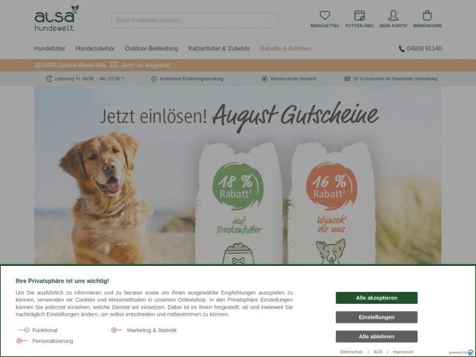 Screenshot des Onlineshops von alsa hundewelt