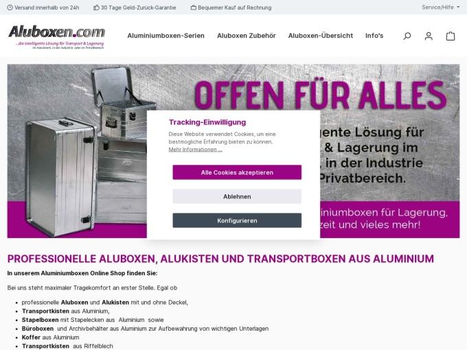 Screenshot des Onlineshops von aluboxen.com