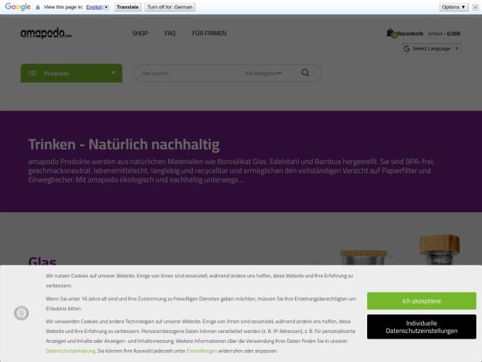 Screenshot des Onlineshops von amapodo