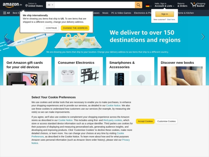 Screenshot des Onlineshops von Amazon