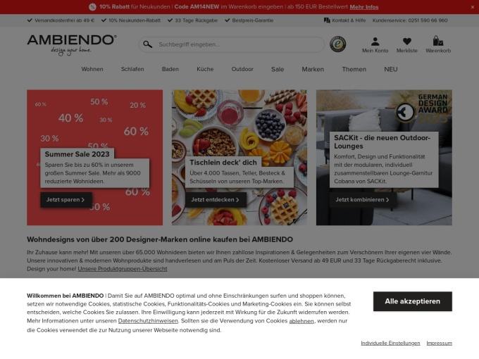 Screenshot des Onlineshops von AMBIENDO