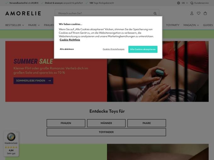 Screenshot des Onlineshops von AMORELIE