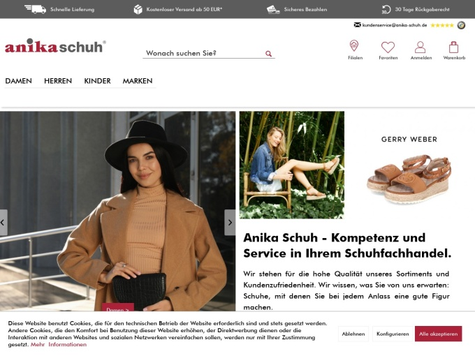 Screenshot des Onlineshops von anika schuh