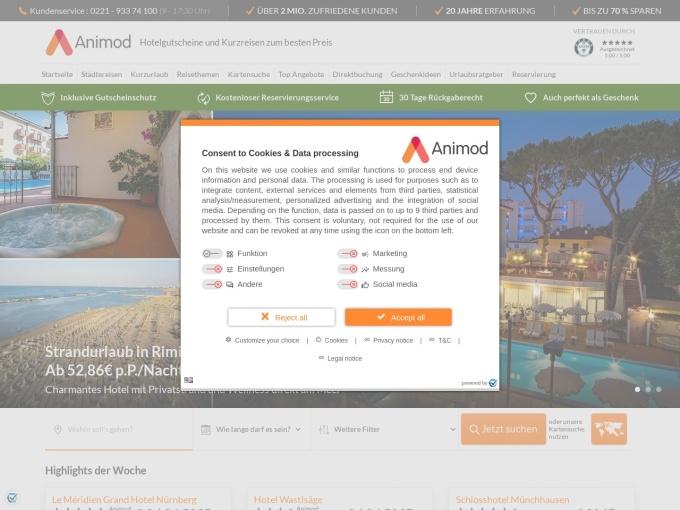 Screenshot des Onlineshops von Animod