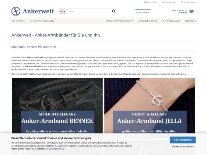 Screenshot des Onlineshops von Ankerwelt