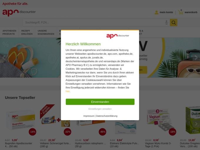 Screenshot des Onlineshops von Apo Discounter