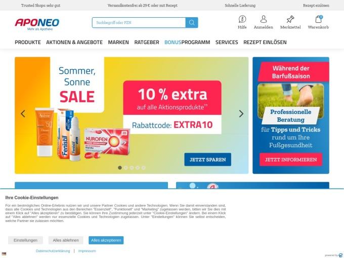 Screenshot des Onlineshops von APONEO