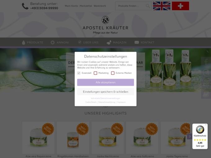 Screenshot des Onlineshops von Apostel Kräuter