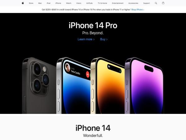 www.apple.com的网站截图