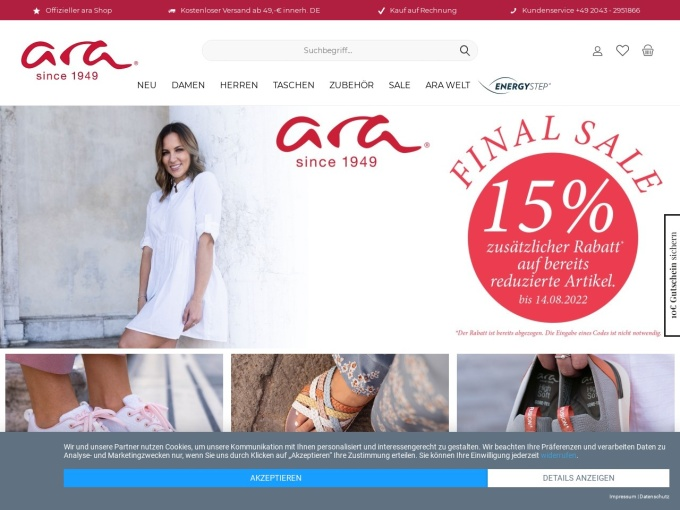 Screenshot des Onlineshops von ara Shoes