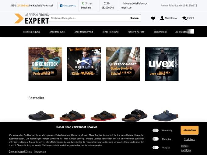Screenshot des Onlineshops von Arbeitskleidung-Expert