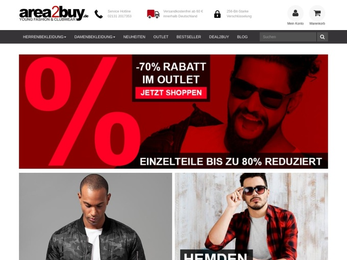 Screenshot des Onlineshops von area2buy