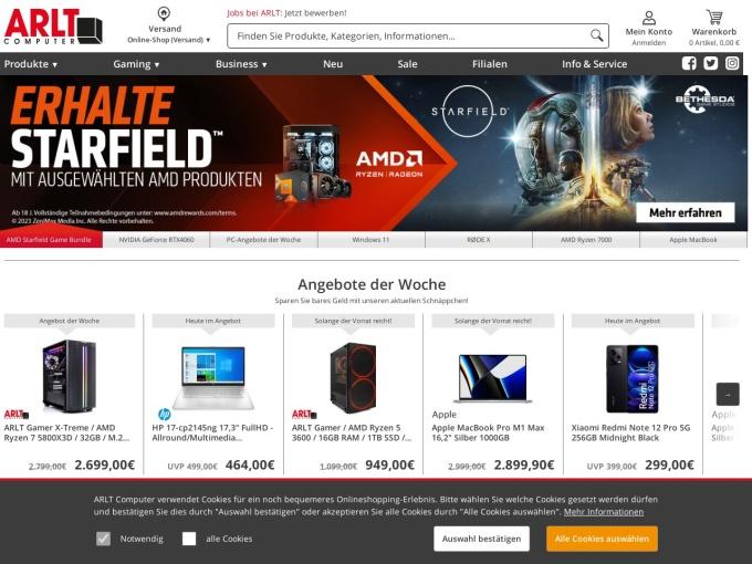 Screenshot des Onlineshops von ARLT