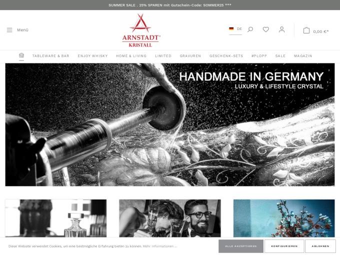 Screenshot des Onlineshops von Arnstadt Kristall