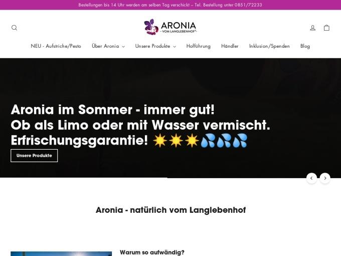 Screenshot des Onlineshops von Aronia vom Langlebenhof