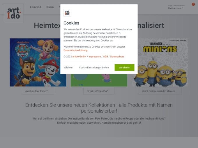 Screenshot des Onlineshops von artido!