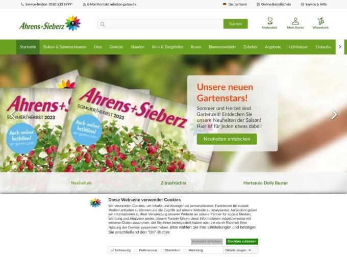 Screenshot des Onlineshops von Ahrens+Sieberz