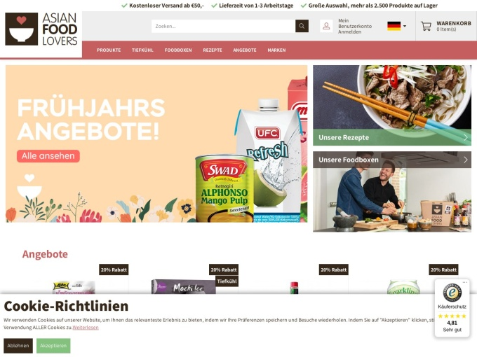 Screenshot des Onlineshops von Asian Food Lovers