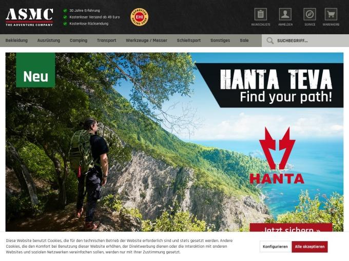 Screenshot des Onlineshops von ASMC
