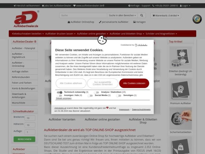 Screenshot des Onlineshops von AufkleberDealer