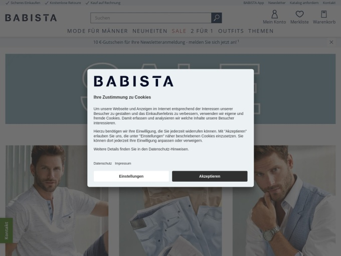 Screenshot des Onlineshops von Babista