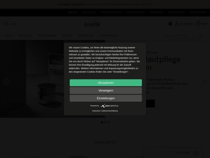 Screenshot des Onlineshops von BABOR