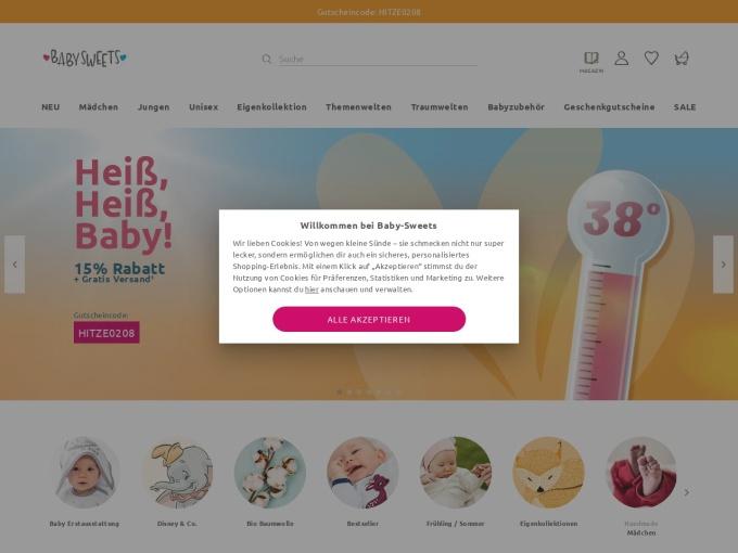 Screenshot des Onlineshops von Baby Sweets