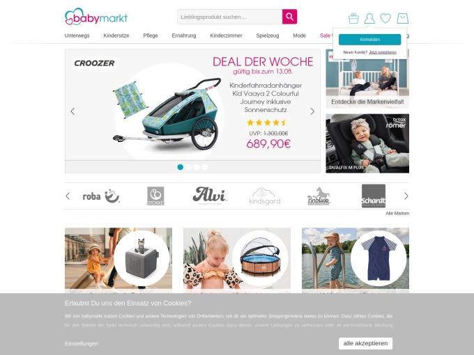 Screenshot des Onlineshops von babymarkt