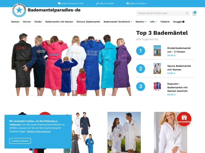 Screenshot des Onlineshops von BademantelParadies