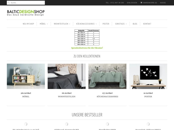 Screenshot des Onlineshops von Baltic Design Shop