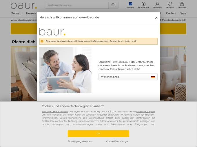 Screenshot des Onlineshops von BAUR