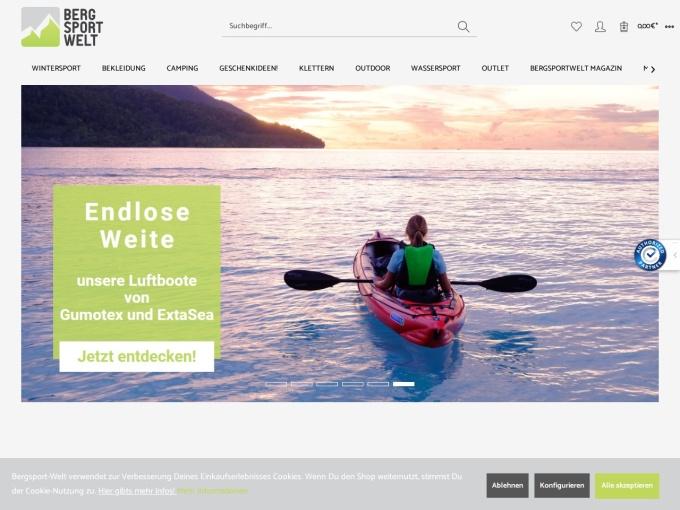 Screenshot des Onlineshops von Bergsport Welt