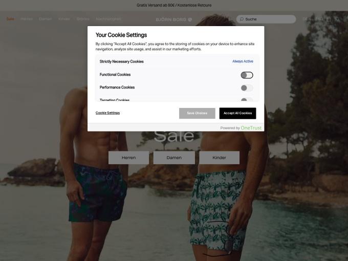 Screenshot des Onlineshops von Björn Borg