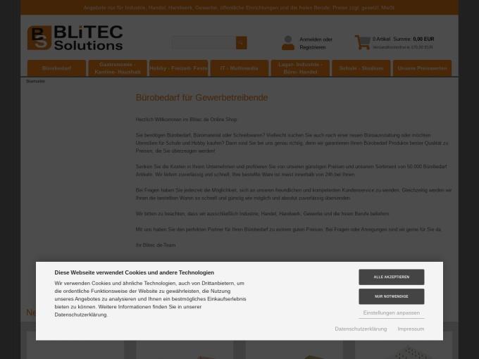 Screenshot des Onlineshops von BLiTEC