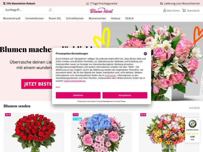 Screenshot des Onlineshops von Blume Ideal